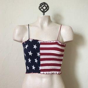 Tops - NWT USA Smock Cropped Tank Top American Flag